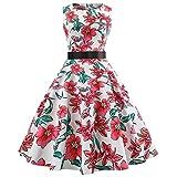 Xmiral Damen Kleid Vintage Sleeveless O Hals Fliege Taille Rock Abend Plaid Printing Party Abendkleid (M,Rosa-9)
