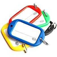 Bulk Hardware BH04017 Key Ring Luggage Tag Large 55 x 28mm (2.1/8 inch x 1.1/8 inch) with Card Insert - Assorted Colours -Pack of 5