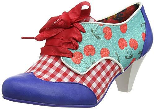 Irregular Choice End of Story, Zapatos de tacón con Punta Cerrada para Mujer, Azul Blue Check Ae...