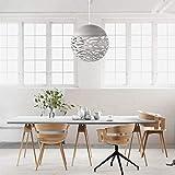 Lampe suspendue ajourée Lustre Tete Simple Lampe sculptée en fer forgé pour salle à manger (Blanc, 30cm)...
