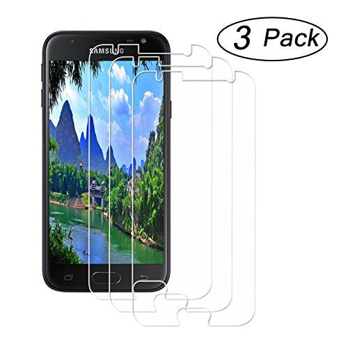 Schutzfolie für Galaxy J3 2017,JHTC für Samsung Galaxy J3 2017 (EU Version),SM-J330 Panzerglas mit 3D Touch Kompatibel-0.28 mm, 9H Härte, 2.5D Kanten, Transparente Anti-Fingerabdruck Anti-Kratzen, Anti-Öl, Anti-Bläschen Displayschutzfolie HD Glasfolie Display Schutz Folie [3 Stück]