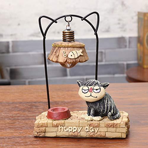 Ximeima Japanische Pastoralen Stil Nette Katze Eisen Harz Nacht Lampe Simulation Handwerk Dekoration GeburtstagsgeschenkSchwarze Katze Nachtlichter