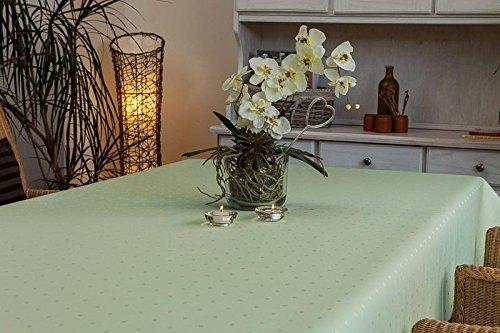 (Tischdecke oval mit Bleiband im Saum, teflonbeschichtet, pflegeleicht in Designs:Pünktchen, mint-grün Maß: 170x260)
