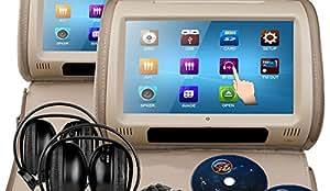 Sonic Audio HR-9Lot 5,1x 22,9cm Beige cuir voiture appuie-tête DVD/multimédia avec 2x Casque infrarouge IR