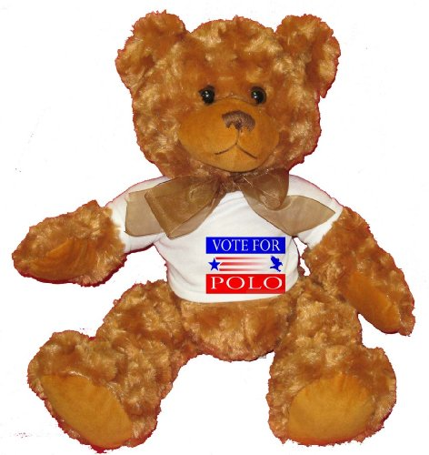 VOTE FOR POLO Plush Teddy Bear with WHITE T-Shirt