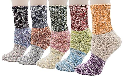 Bienvenu Damen Mädchen 4 Paar Pack Mehrfarbig Baumwolle Crew Socken (Pack Crew-4 Paar)