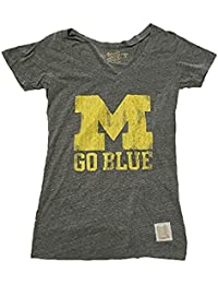 Michigan Wolverines Retro Brand Women's Gray Tri Blend Distressed Logo Shirt (Small)
