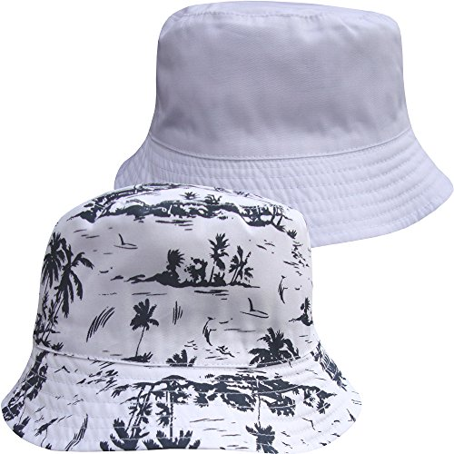 TeddyTs Boys Fully Reversible 2 in 1 Tropical Palm Trees Summer Sun Hat