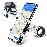 Handy Halterung von HOMEASY Fahrradhalterung Motorrad Handy-Halter Universal Handyhalterung 360° Drehbare Radsport Verhütung GPS Halter (Silber)
