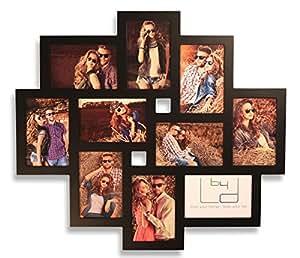 Fotogalerie aus Holz mit Glasscheiben - Farbe Schwarz 55x50cm für 10 Fotos 10x15 cm - Bilderrahmen direkt vom Hersteller - Dallas klein Fotocollage Fotorahmen Bild Galerie