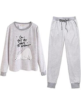 DMMSS Signore autunno e l'inverno spesso gli indumenti da notte a righe Cartoon Animal Pajamas Set , figure color...