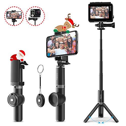Bastone selfie bluetooth treppiede estensibile,maxcio selfie stick portabile con bluetooth controllo remoto,asta per selfie compatibile con iphone x max/8/7/7 plus/6s,saumsang galaxy,honor,huawei ecc