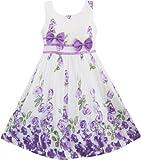 Girls Dress Purple Rose Flower Double Bow Tie Party Kids Sundress Size 4-12 Years