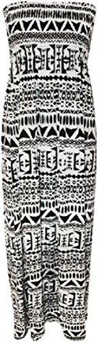 Boob Tube Stretch pour femme Imprimé Sheering Maxi Plus de robe pour femme Tailles :  8–26 Orange - Aztec
