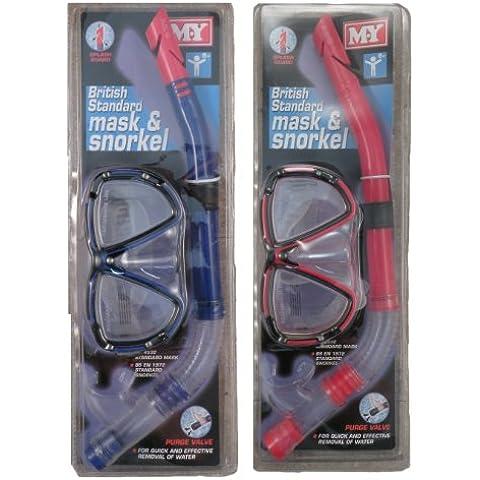 Mia Maschera e boccaglio, scelta di colori–M.Y. British Standard Set Maschera e boccaglio con valvola, rosso
