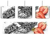 Bio Müsliriegel mit Erdbeere schwarz/weiß inkl. Lampenfassung E27, Lampe mit Motivdruck, tolle Deckenlampe, Hängelampe, Pendelleuchte - Durchmesser 30cm - Dekoration mit Licht ideal für Wohnzimmer, Kinderzimmer, Schlafzimmer