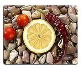 Liili Mauspad Naturkautschuk Mousepad Bild-ID: 4214155Muscheln mit Tomaten Chili Muscheln und Zitronen Meeresfrüchte von Mediterraner