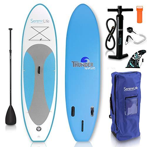 Aufblasbares Stand Up Paddle Board (16 cm dick) von SereneLife Universal SUP, breites, rutschfestes Deck mit unterem Spoiler für die Kontrolle beim Paddeln und Surfen - Für Jugendliche und Erwachsene