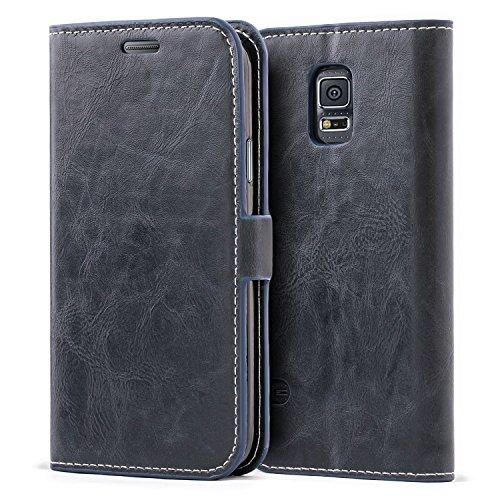 Custodia Samsung Galaxy S5,Cover Samsung Galaxy S5 libro,Mulbess Custodia In Pelle Con Portafoglio per Samsung Galaxy S5 Cover Blu notte
