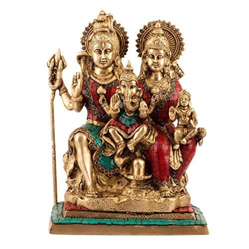 1FT MAGNÍFICO Latón hindú grande Shai Parivar Escultura