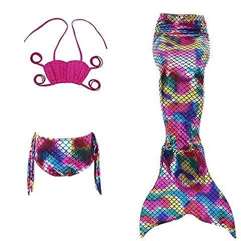 Fanryn niedlich Mädchen Meerjungfrau Schwimmanzug Schalentiere schuppen Stil Badeanzüge Bikini Kostüm Badeanzug Kann Monofin treffen für Kinderschwimmen Schwimm (Cool 2 Person Kostüme)