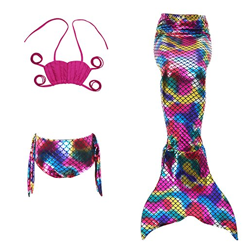 Fanryn niedlich Mädchen Meerjungfrau Schwimmanzug Schalentiere schuppen Stil Badeanzüge Bikini Kostüm Badeanzug Kann Monofin treffen für Kinderschwimmen Schwimm (Rot Creed Assassins Kostüm)
