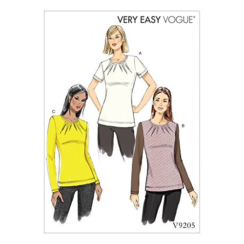 Vogue Damen Schnittmuster 9205 Jersey Knit Tops mit gewendetem Hals Darts (Top Knit-jersey)