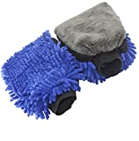 Autowaschhandschuh aus doppelseitiger Microfaser, saugstarker Autoschwamm für Lack, Scheiben, Felgen und Innenraum