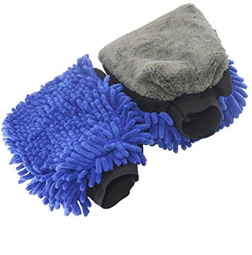 Autowaschhandschuh aus doppelseitiger Microfaser, saugstarker Autoschwamm für Lack, Scheiben, Felgen und Innenraum (Boot-handschuhe)