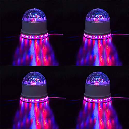 Vinmin LED-Bühnenlichter Party Lights Disco Ball Blitzlicht Disco LightsSound Aktivierte Party Lights 7 Farben dreht Sich schwarz (4-Pack) (An Ball Decke Montiert Der Disco)