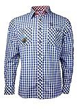 Fuchs Herren Trachtenhemd slimfit mit Sticker Gr. S-XXL (M, blau rot)