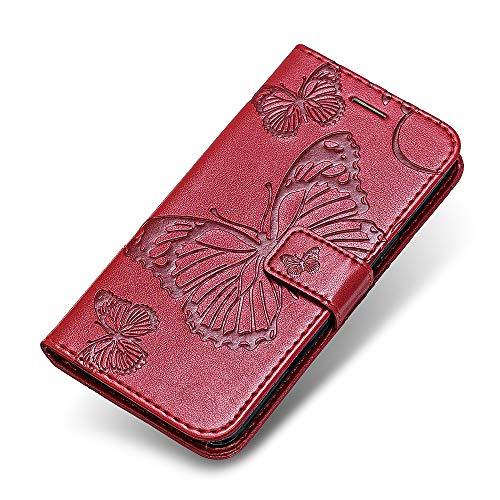 iPhone 7 8 Hülle, The Grafu® PU Leder Handyhülle mit Stoßfest TPU, Schmetterling Muster [Standfunktion] [Kartenfach] Schutzhülle für Apple iPhone 7/8, Rot