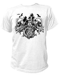 Artdiktat T-Shirt Camiseta para hombre - DOUBLE SKULL ISLAND - BLACK