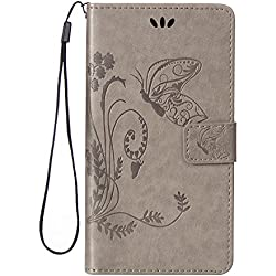 Cozy Hut HTC Desire 826 PU Housse,Slim-Fit Folio Smart Cuir Portefeuille Case Coque Etui pour HTC Desire 826,Fleur de papillon Motif PU Leather Coque Stand Flip Housse de Protection pour HTC Desire 826- gris