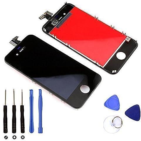 BPS Vitre tactile d'origine Retina pour protection et remplacement Iphone 4 noir- Ecran lcd vitre avant assemblé sur chassis Noir+Outils