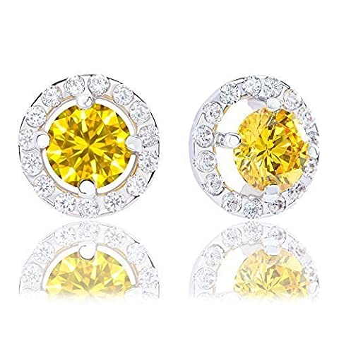 18k Gold Plated Illusion Solitaire Cubic Zirconia Halo Stud Earrings (2.25 carats)