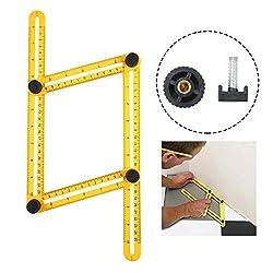 Niceeshop(tm) Angleizer Template Tool, Angle Measure Ruler Multi Angleizer Template Ruler For Builders Or Engineer, Yellow+black