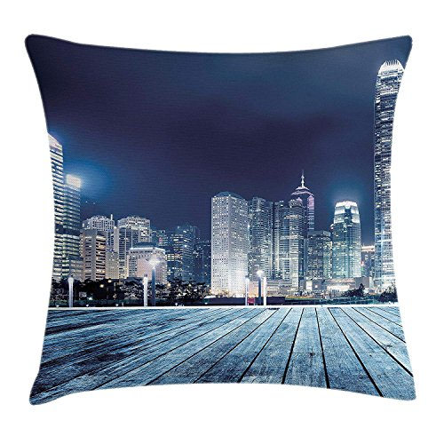 Trsdshorts Landscape Throw Pillow Cushion Cover by, Asia China Hong Kong City Skyline View at Blue Night Towers and Skyscapers Photo, Decorative Square Accent Pillow Case, 18 X 18 Inches, Navy Blue -