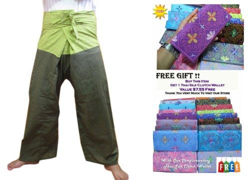 2 TONE Thai Fisherman Yoga Pants/Hosen, aus Baumwolle, gestreift, Gr., Übergröße (Robe Gestreiften Baumwolle)