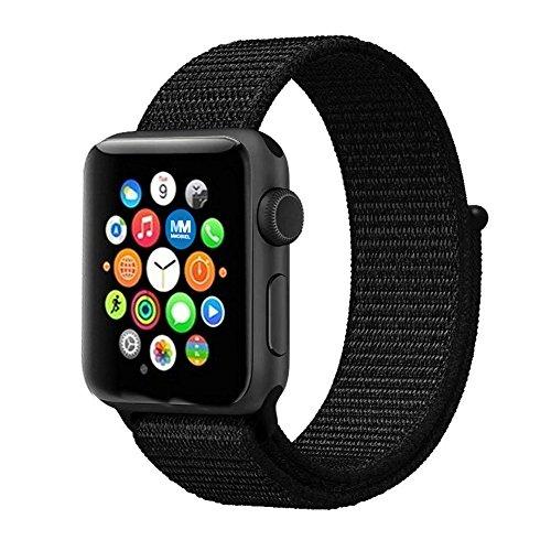 MMOBIEL Uhrenarmband 38 mm (Schwarz) Super Slim Fein gewobenes verstellbares Nylon Sport Ersatz Band für Apple Watch Alle Serien