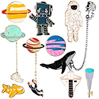 Gejoy 10 Pieces Enamel Pin Set Cartoon Lapel Brooch Space Badge Pin for Clothes Bag Jacket Backpack Decoration