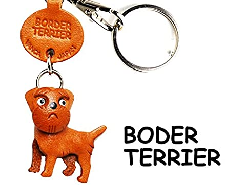 Border Terrier Leather Dog Small Keychain VANCA CRAFT-Collectible keyring Made in Japan