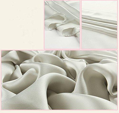 ACMEDE - Echarpe Foulard Long Doux Elegant En Soie Coton Cou Wrap Chale Pour Femme Ete Hiver Gris