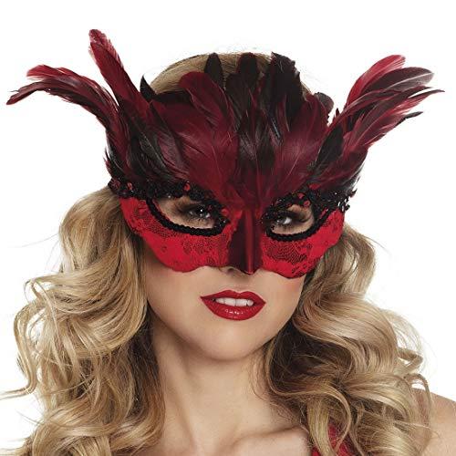 (Karnevalsbud - Kostüm Accessoires Zubehör mystische Augen-Maske Teufelin mit Federn, Eye Mask Lady Devil with Feathers, perfekt für Halloween Karneval und Fasching, Rot)