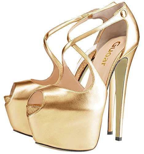 Guoar High Heels Damen Große Größe Pumps Peep-Toe Criss Cross Button Platform Stiletto Pumps Ballsaal Party Hochzeit Gold