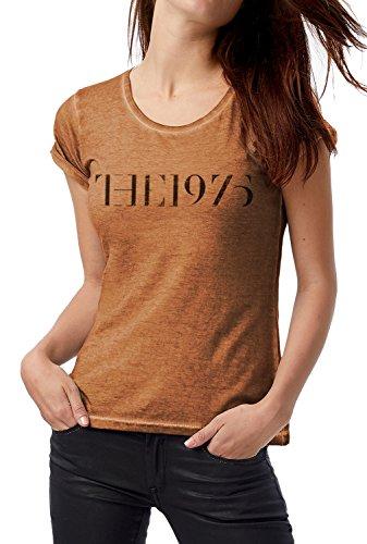 LaMAGLIERIA T-Shirt Donna Vintage Look The1975 Black Logo Grunge Print COD. Grpr0117 - Maglietta DNM Plug in Effetto Vintage con Stampa Rock Rusty Clash