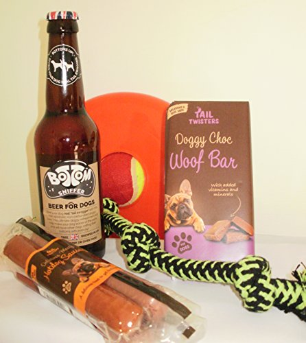 'Beer & Hot Dogs' Dog Christmas Hamper with Treats and Toys