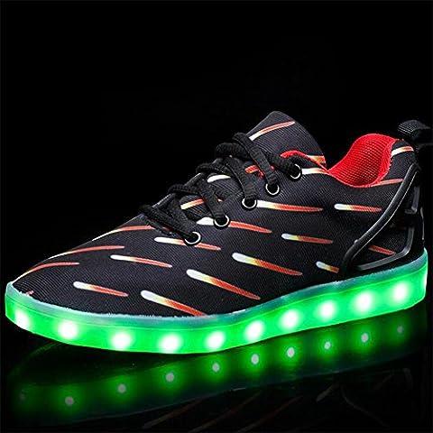 Dragon Meteore Noir - Chaussures légères à LED chaussures plates décontractées