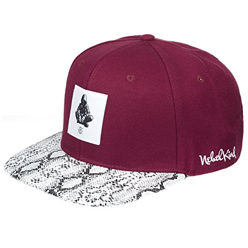 Nebelkind Unisex Snapback Cap Mensch Patch Kappe Weinrot One Size