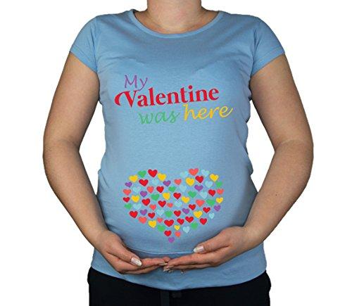 Couleur Fashion Maternité Soft Touch Valentine coton imprimé dessus Bleu - Bleu